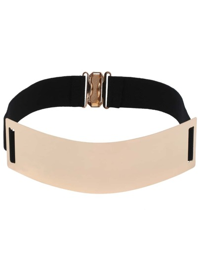 Wide Metal Plate Elastic Belt - Black