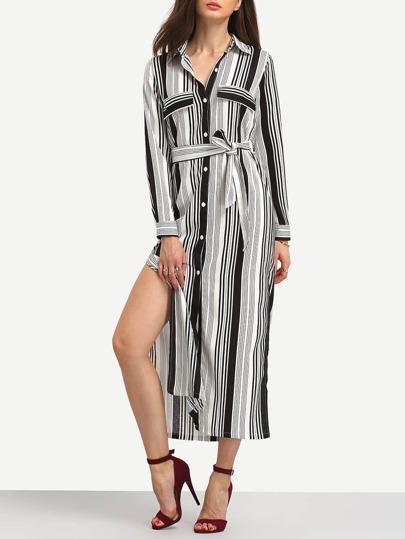 Striped Slit Self-Tie Long Shirt Dress