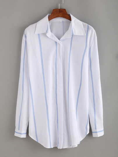 Vertical Striped Pointed Collar Blouse