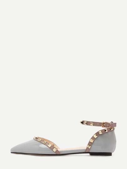 Sandales à brides avec rivets -gris