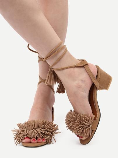 Escarpins sandales à lacets avec frange -marron