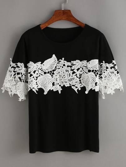 Contrast Lace T-Shirt