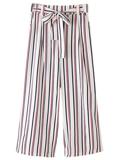 Multicolor Vertical Stripe Pockets Tie-waist Bow Wide Leg Pants