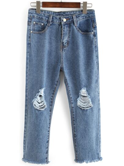 Knee Ripped Straight Ankle Jeans