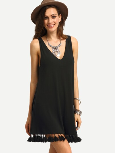 Double V Neck Tassel Trim Dress