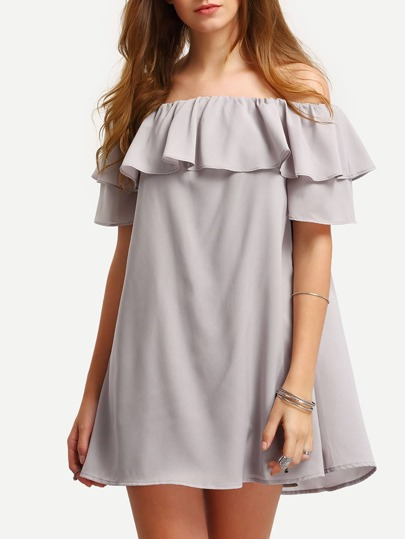 Grey Ruffle Off The Shoulder Shift Dress