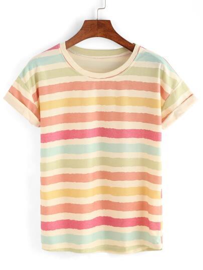 Multicolor Crew Neck Striped T-Shirt