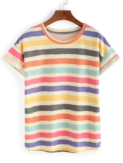 Multicolor Crew Neck Striped T-Shirt