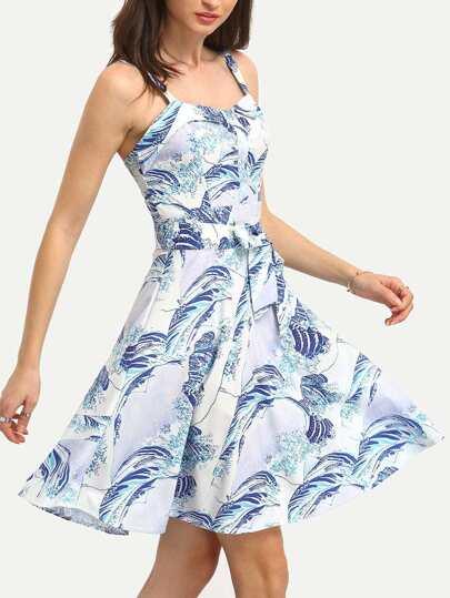 Wave Print Self-Tie A-Line Dress