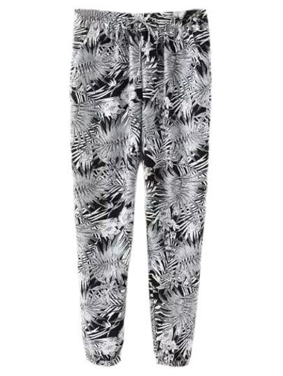Multicolor Elastic Waist Pockets Bamboo Leaves Print Pants
