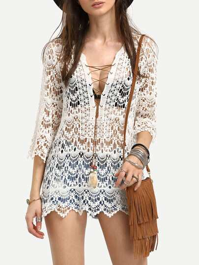 Crochet Lace-Up Cover-Up Blouse