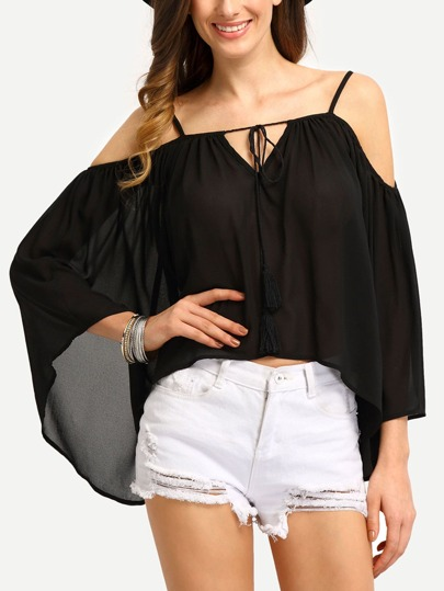 Cold Shoulder Bell Sleeve Chiffon Blouse
