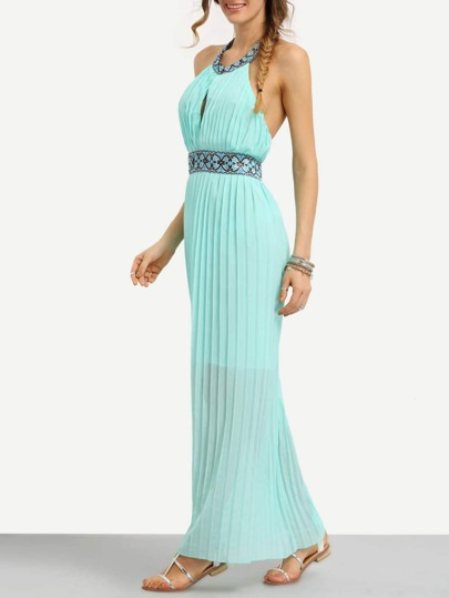 Tribal Tape Embellished Pleated Halter Dress - Mint Green