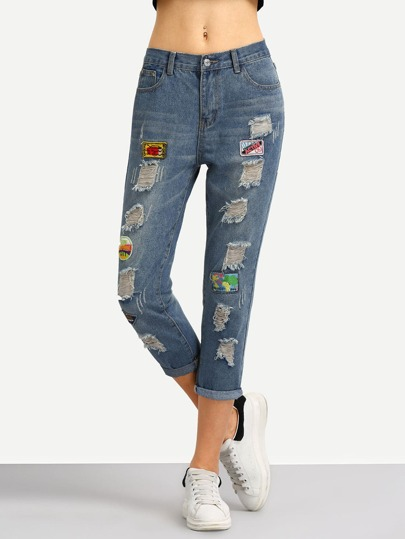 Embroidery Patch Frayed Jeans
