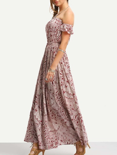 Burgundy Print In White Off The Shoulder Maxi Dress