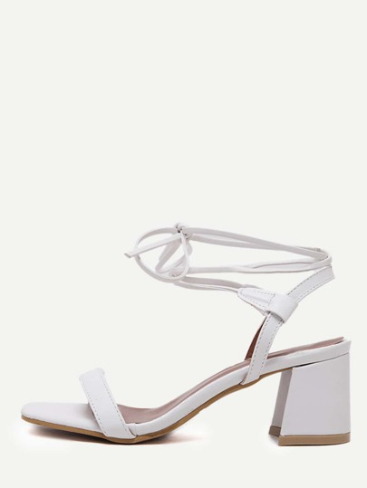 White Faux Suede Open Toe Strappy Pumps