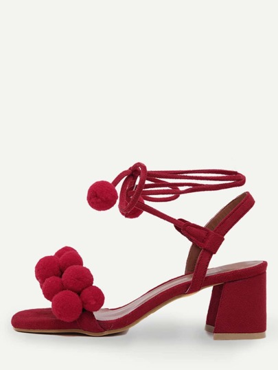Red Open Toe Pompom Chunky Pumps