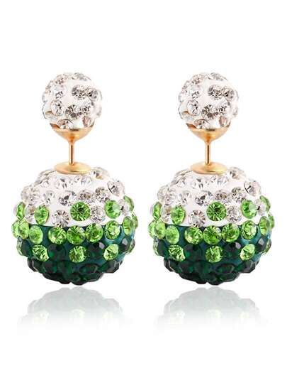 Rhinestone Ball Double Sided Stud Earrings - Green