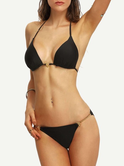 Halter Metal Chain Detail Front Closure Bikini Set