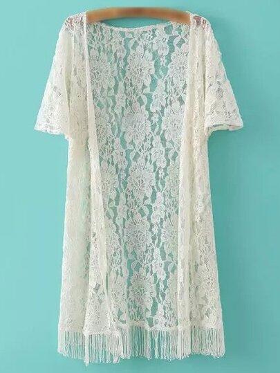 Beige Short Sleeve Fringe Lace Cardigan Kimono