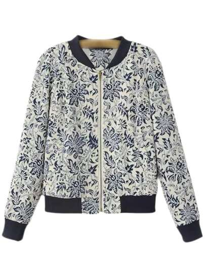 Blue and White Porcelain Printed Baseball Jacket