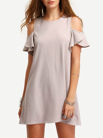 Cold Shoulder Ruffle Sleeves Shift Dress