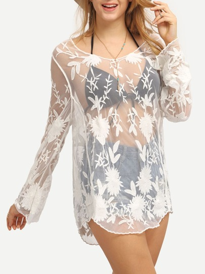 Flower Embroidered Cover-Up Mesh Blouse