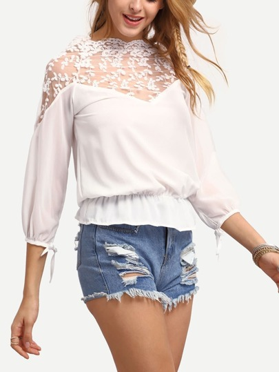 Embroidery Sheer Shoulder Peplum Blouse - White