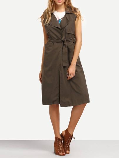Layered Sleeveless Trench Coat
