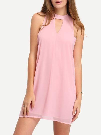 Keyhole Halter Neck Chiffon Dress
