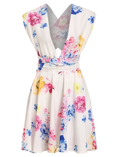 Bloom Print Plunge Neck Crisscross Self-Tie Dress