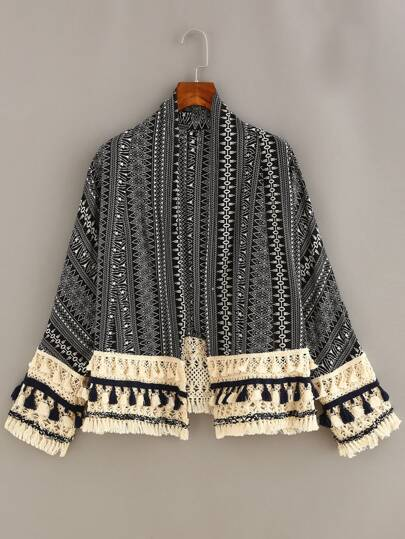 Tassel Trimmed Tribal Print Cardigan - Black