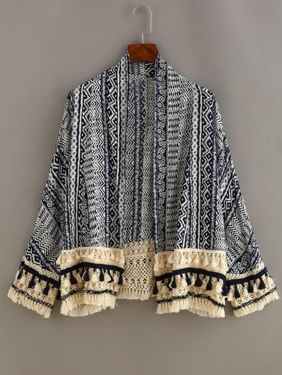 Tassel Trimmed Tribal Print Cardigan - Blue