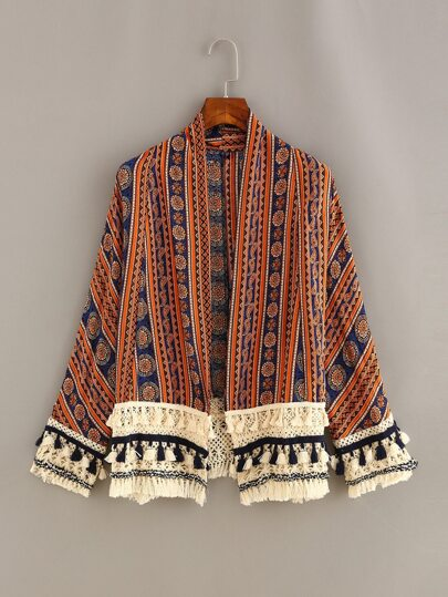 Tassel Trimmed Tribal Print Cardigan - Orange