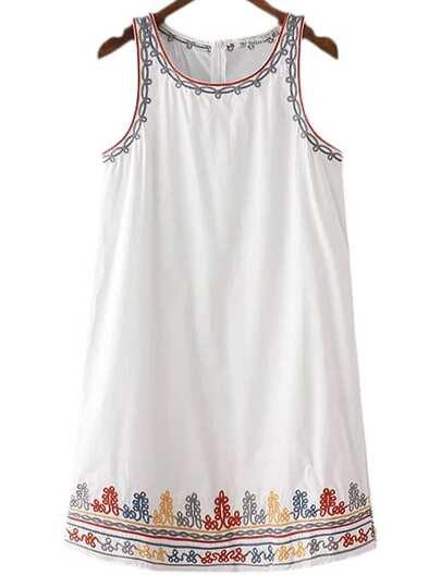 White Zipper Back Embroidery Tank Dress