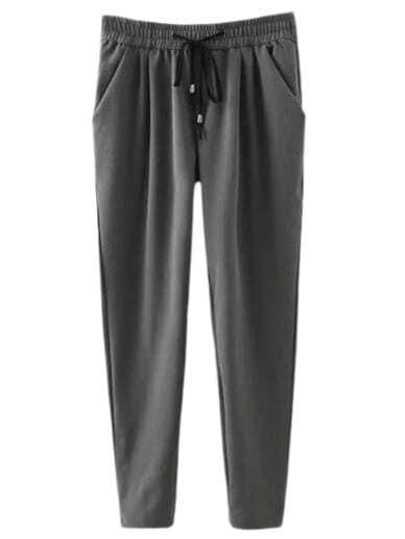 Grey Elastic Tie-Waist Pockets Pants