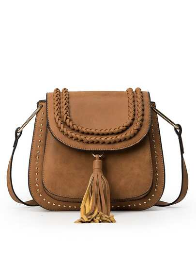 Braided Tassel Trimmed Studded Saddle Bag - Brown