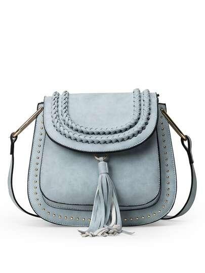 Braided Tassel Trimmed Studded Saddle Bag - Light Blue