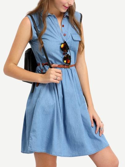 Sleeveless Denim Dress With Braided Belt