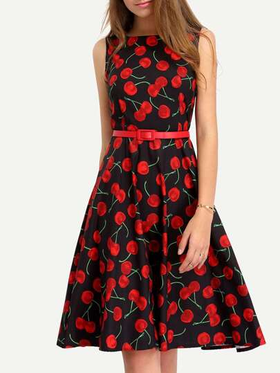 Cherry Print Fit Flare Dress
