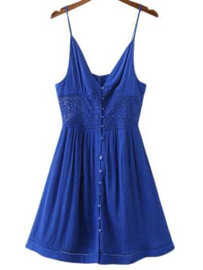 Blue Buttons Front Lace Splicing Spaghetti Strap Dress