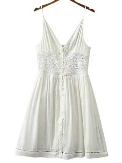 White Buttons Front Lace Splicing Spaghetti Strap Dress