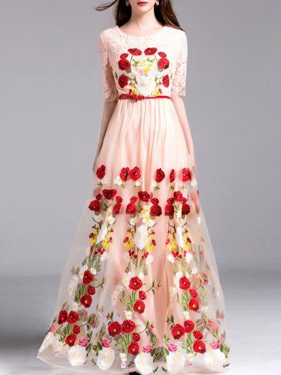 Maxi Kleid mit Spitzeneinsatz und Druck - rosa