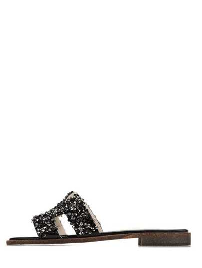 Zapatillas abierto apliques -negro