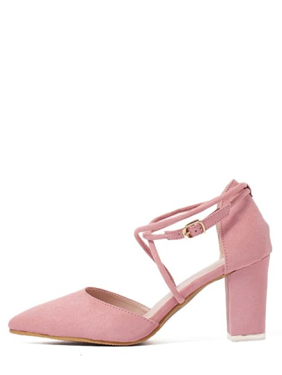 Pink Faux Suede Block Crisscross Strappy Chunky Pumps