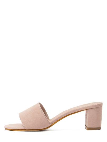 Sandalias faux suede abierto grueso -rosa