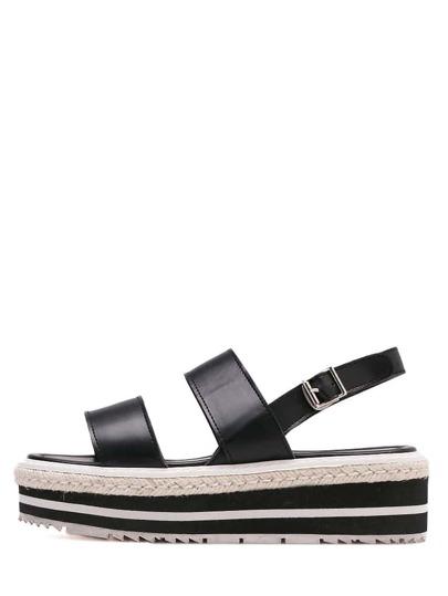 Sandales espadrilles bout ouvert avec lanières -noir