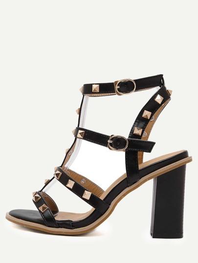 Escarpins sandales à lanières avec rivets -noir
