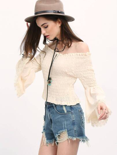 Apricot Off The Shoulder Bell Sleeve Blouse