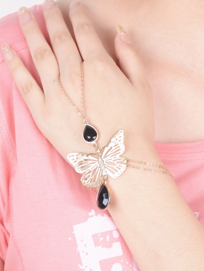 Cutout Butterfly Drop Stone Hand Chain